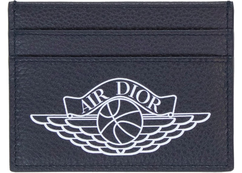 dior-x-jordan-wings-card-holder-4-card-slot-navy-in-calfskin-with-silver-tone